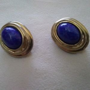 Carolee lapis clip on earrings